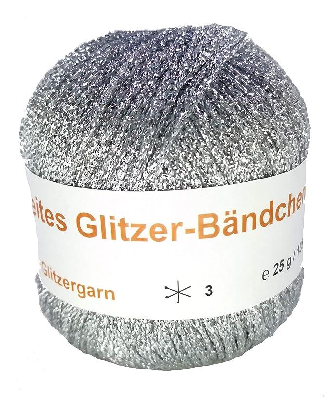 breites Glitzer-Bändchengarn in der Farbe Silber - 25 Gramm Knäuel
