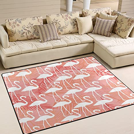 Amazon.com: ALAZA Palm Tree Flamingo Leaf Area Rug Rugs for Living ...