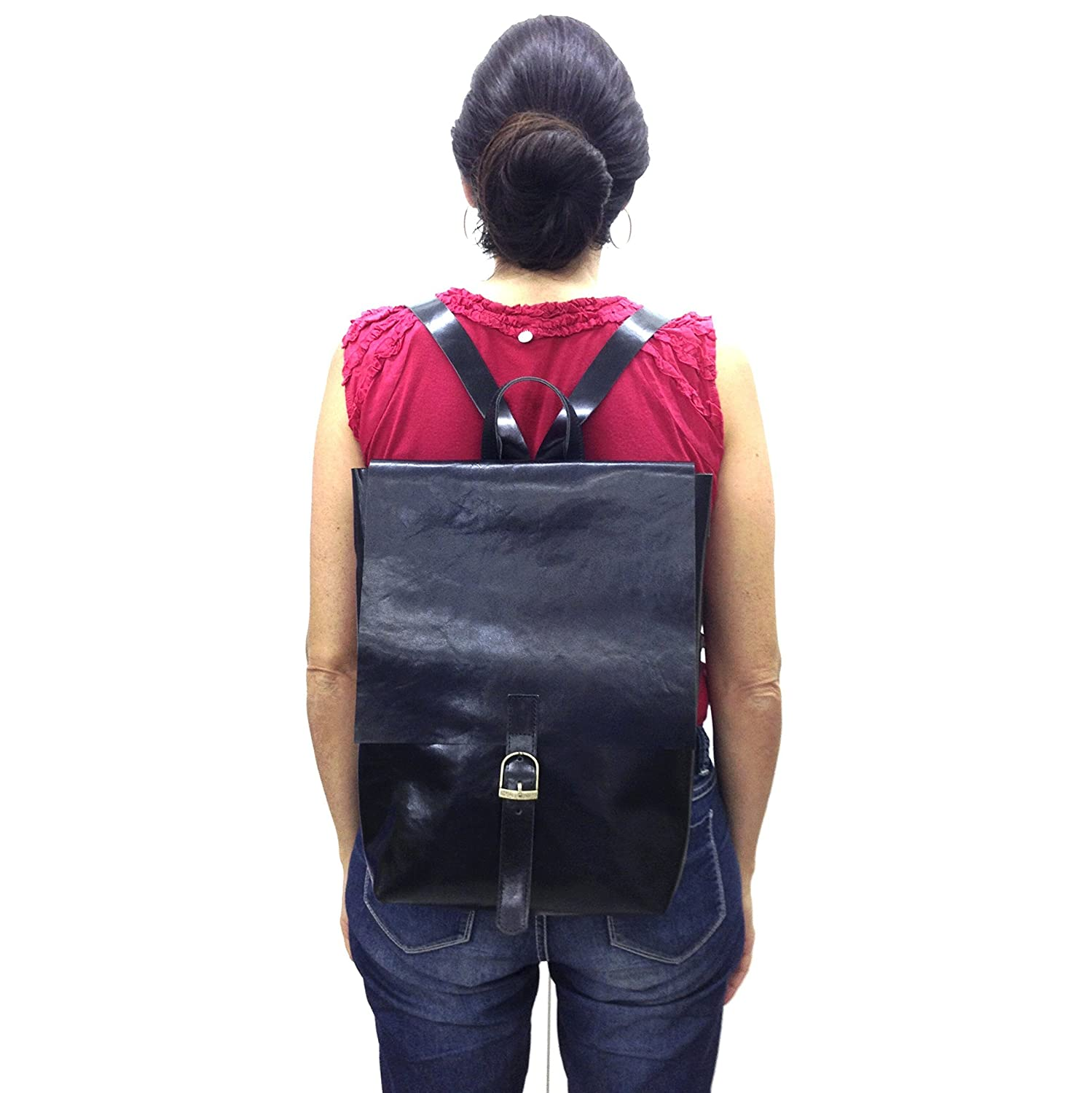 a0ae0c58a Amazon.com: Medium Black leather Backpack Women's rucksack bag buckled  sturdy satchel up to 13 - 14 laptop size: Handmade