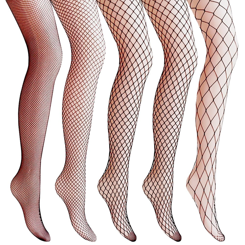 Amandir 4 Pairs/5 Pairs Women's Lace Fishnet Leggings Patterned Mesh Stockings Net Hollow Out Pantyhose