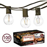 100Ft G40 Globe String Lights with Clear Bulbs UL Listed for Indoor/Outdoor Commercial Use, Retro Outdoor String Lights for Patio Backyard Cafe Bistro Garden Porch Umbrella Tents Decks (Brown1)