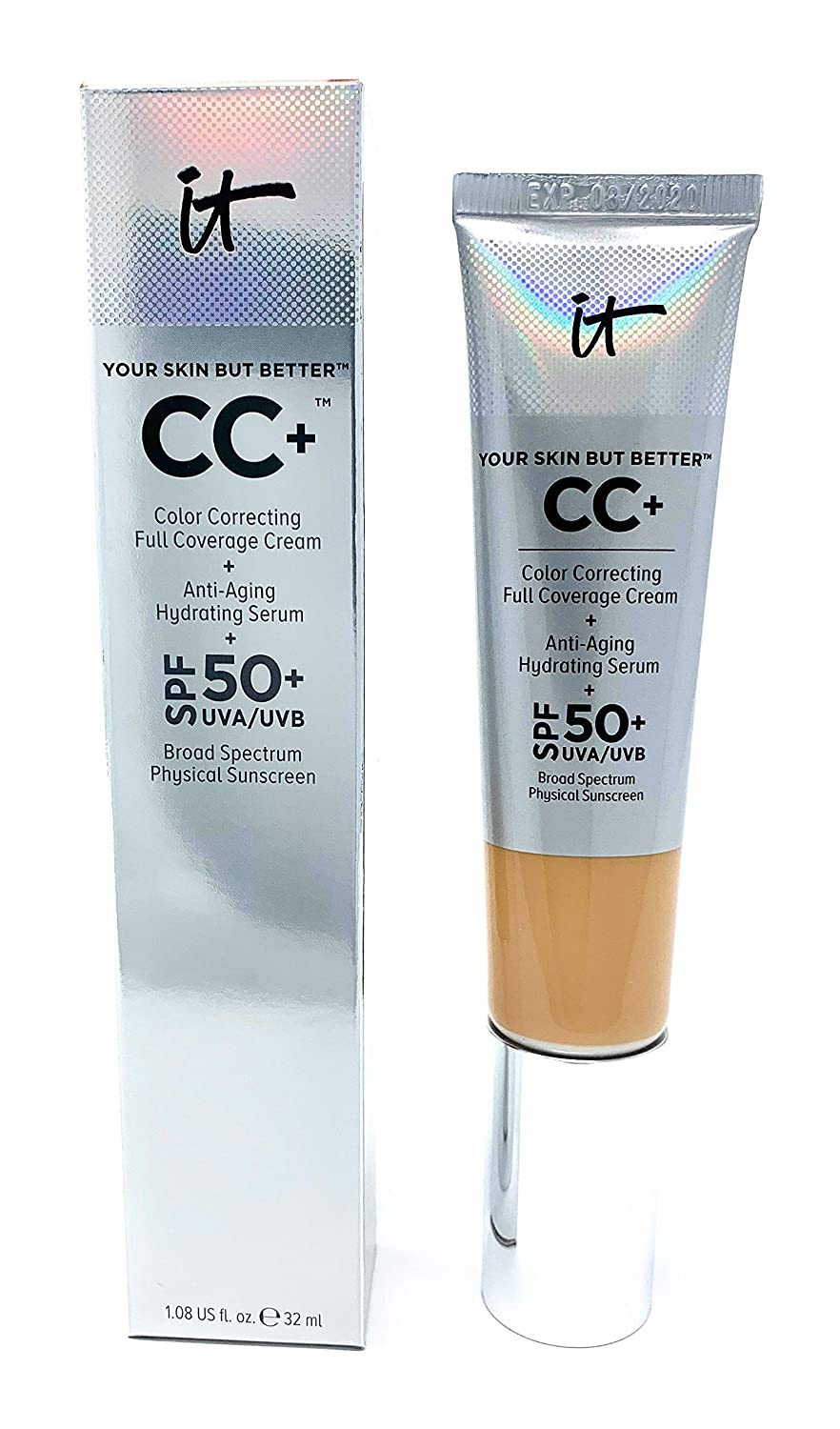 It Cosmetics CC+ Cream SPF 50 (Light Medium) Full Coverage, 1.08 Ounces