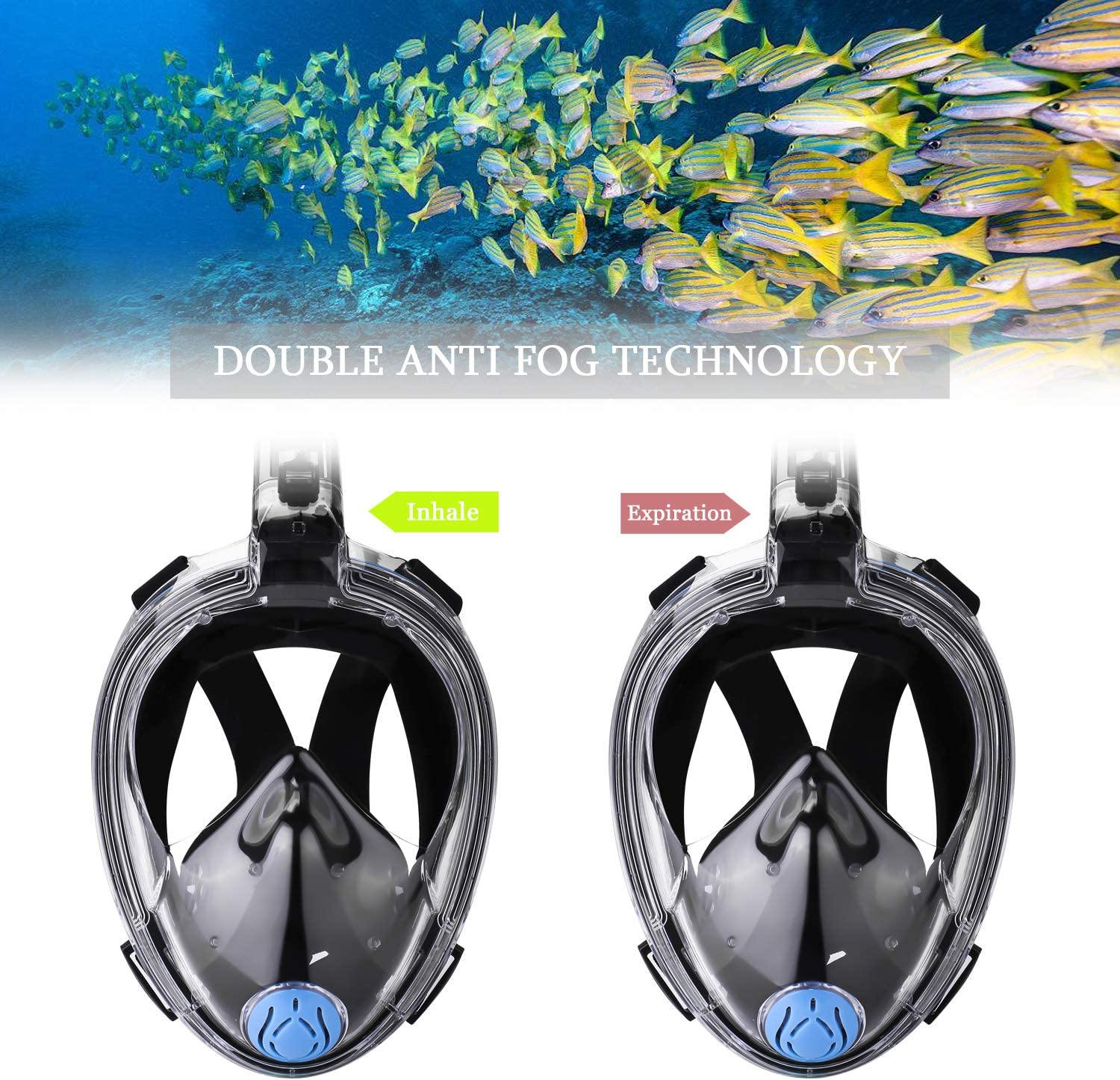 ORSEN Newest Version Full Face Snorkel Mask Foldable 180 Panoramic View Free Breathing Snorkeling Mask with Detachable Camera Mount,Anti-Fog Anti-Leak for Adults /& Kids