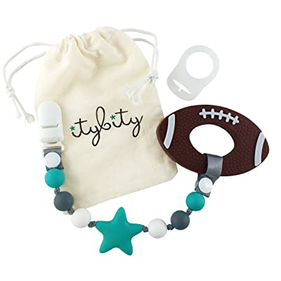 Football Baby Teething Toys with Pacifier Clip Teether, Baby Gift Set (Turquoise, Gray) : Baby