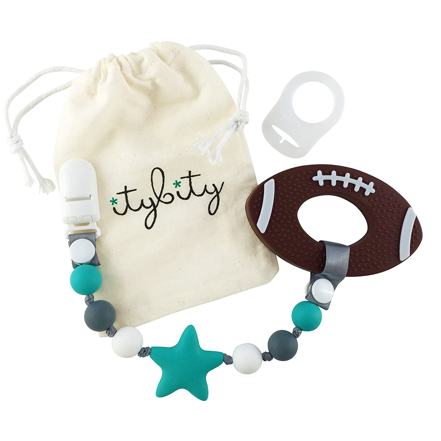 Amazon.com   Football Baby Teething Toys with Pacifier Clip Teether ... 6f1bb0ac53