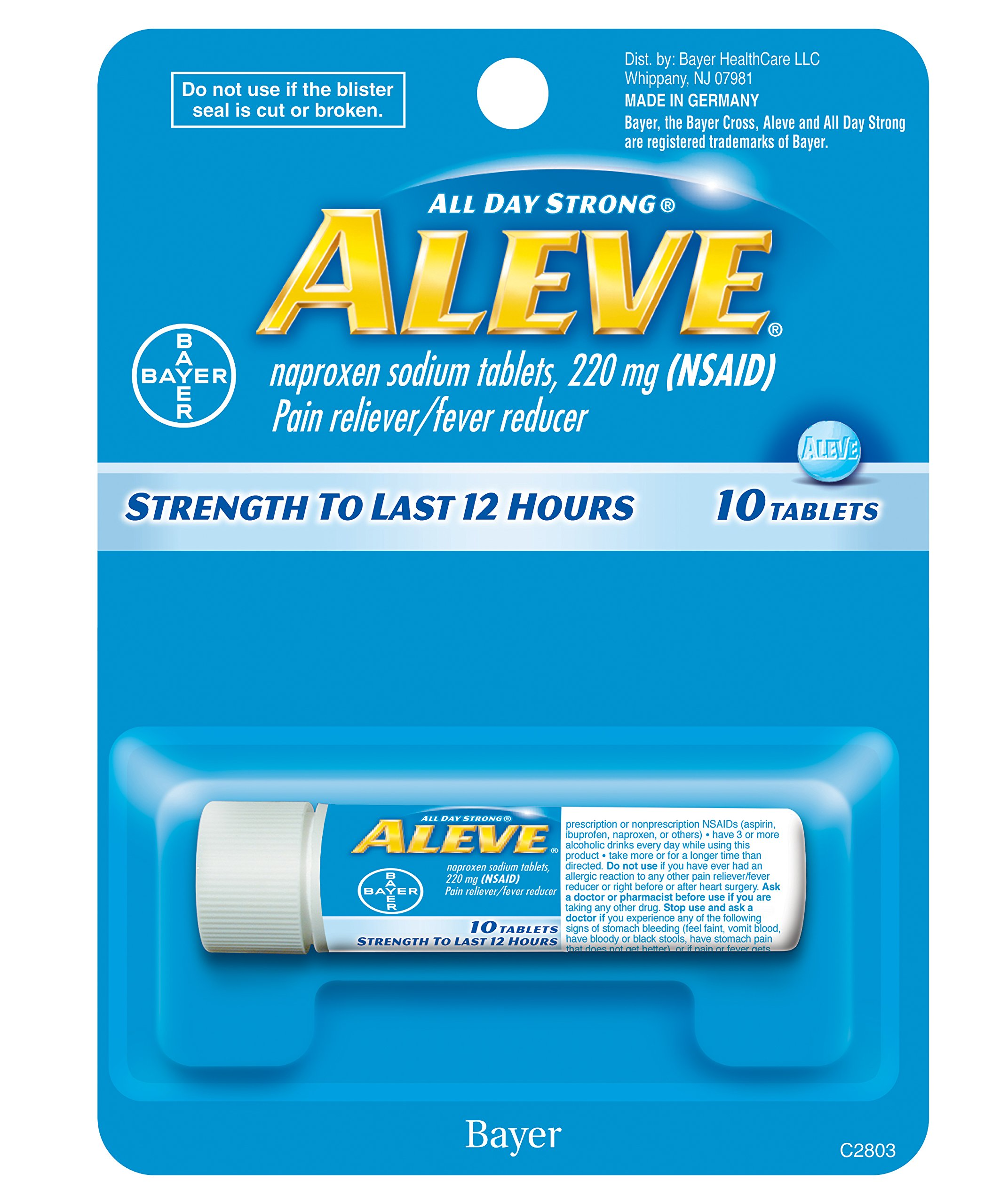 Aleve Tablets with Naproxen Sodium 220mg NSAID Pain RelieverFever Reducer, 10 Count