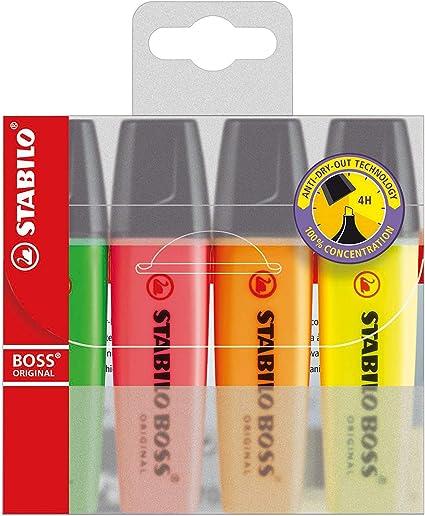 Assorted Colours Wallet of 4 STABILO BOSS Original Highlighter