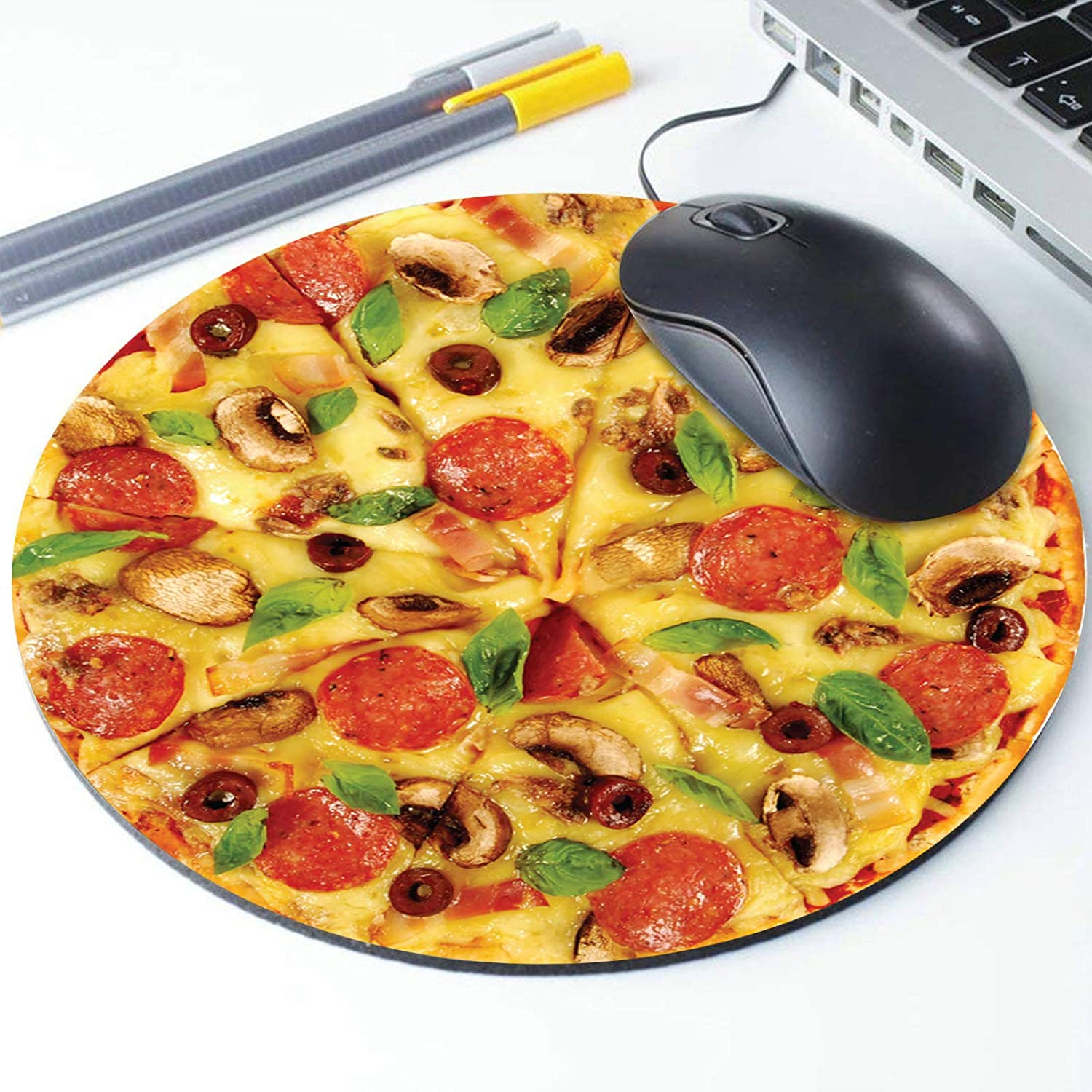 Pepperoni Cheesy Pizza Pattern Round Ergonomic Mouse Pad Non-Slip Rubber Material for Office Desk Gaming Home Space Decor Pizza Mouse Pad 220mm Diameter