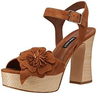 5ff8b58bfae Nine West Women s Winflower Heel Sandal Dark Natural Suede 7.5 M ...