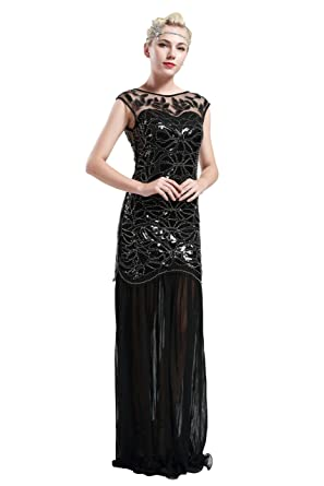BABEYOND Damen 1920s Stil Lange Kleider voller Pailletten Runder Ausschnitt Inspiriert von Great Gatsby Kostüm Kleid