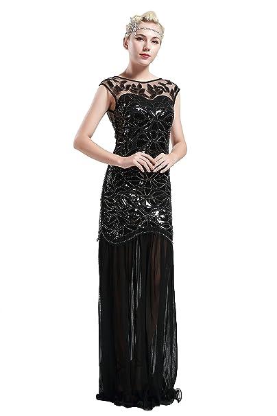 Babeyond Vestito Gatsby Donne 1920s Vestito Anni 20 Donna Flapper Dress  1920s Vestito da Sera Paillette Impreziosito Frange Gatsby Dress Senza  Maniche Nero  ... 71f94dbad37