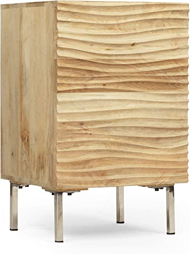 Lesley Modern Mango Wood and Iron Side Table