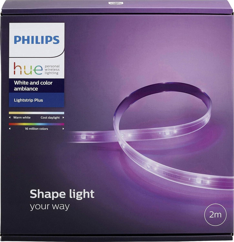 Philips Hue Bloom Lámpara de mesa conectada, luz de ambiente, controlable + White and Color Ambiance Lightstrip Plus, tira LED de 2 metros con enchufe, iluminación inteligente: Amazon.es: Iluminación