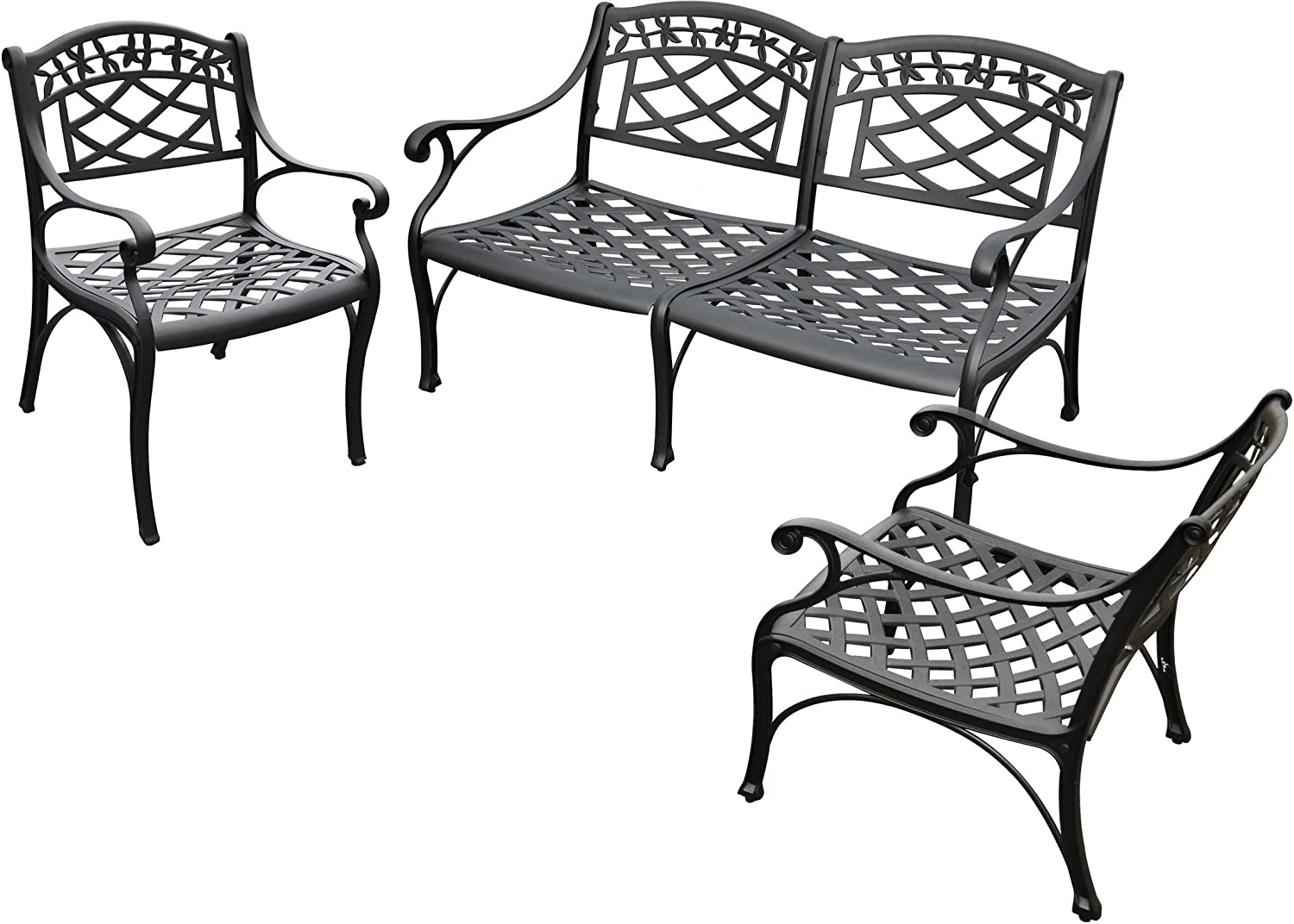 Crosley Furniture Sedona 3-Piece Solid-Cast Aluminum Outdoor Conversation Set with Loveseat and 2 Club Chairs - Black