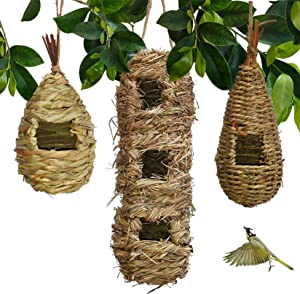 Hand-Woven Teardrop Shaped Eco-Friendly Birds Cages Nest Roosting,Grass Bird Hut,Hanging Bird House,Cozy Resting Place,100% Natural Fiber,Ideal for Birds - Provides shelter from Cold Weather