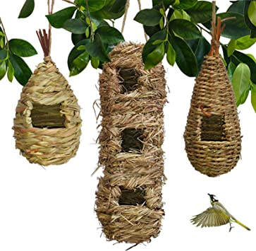 Hand Woven Teardrop Shaped Eco Friendly Birds Cages Nest Roosting Grass Bird Hut Hanging Bird House Cozy Resting Place 100 Natural Fiber Ideal For Birds Provides Shelter From Cold Weather Garden Outdoor Amazon Com