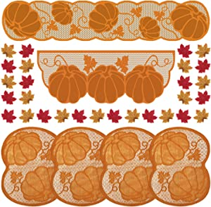 FEPITO 106 Pcs Thanksgiving Decorations Set, Lace Pumpkin Maple Leaves Fireplace Mantle Scarf, Table Runner with Table Placemats and Artificial Maple Leaves for Fall Harvest Decor Thanksgiving Party