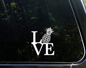 "Love with Pineapple - 3-3/4"" x 4-1/2"" - Vinyl Die Cut Decal/Bumper Sticker for Windows, Cars, Trucks, Laptops, Etc."