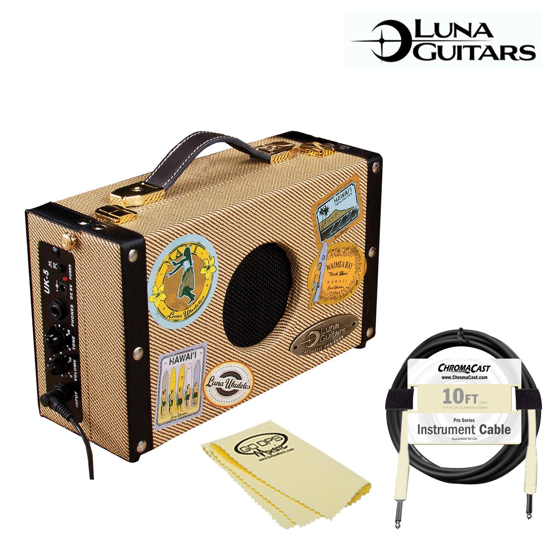 Luna Guitars Ukulele 5-Watt Suitcase Amp (UKE-SA) with ChromaCast Pro Series 10ft Cable & GoDpsMusic Cleaning Cloth
