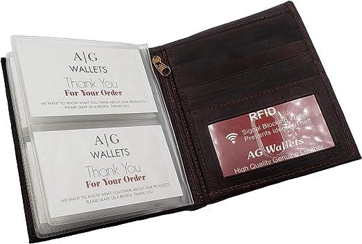 Black RFID Block Cowhide Leather European Men/'s Bifold Hipster Wallet