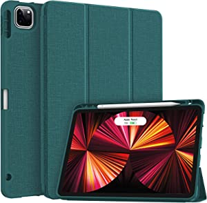 Soke New iPad Pro 11 Case 2021 with Pencil Holder - [Full Body Protection + 2nd Gen Apple Pencil Charging + Auto Wake/Sleep], Soft TPU Back Cover for 2021 iPad Pro 11 inch(Teal)