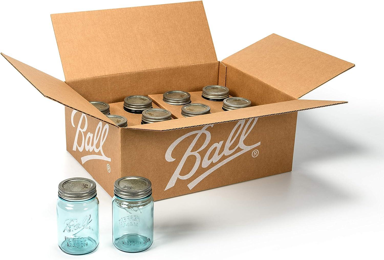 Ball Aqua Vintage Mason Jar| Regular Mouth Glass Jar| 16-Ounce Pint Jar with Lids and Bands, 12 Count