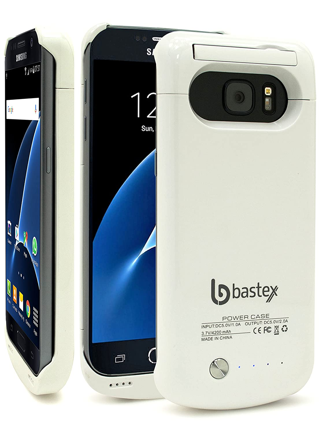 Bastex Galaxy S7 Battery case, Rechargeable High Capacity Battery Charger Power, Hard White Plastic Protective Shell, 4200mAh, Slim Fit Durable Rugged ...