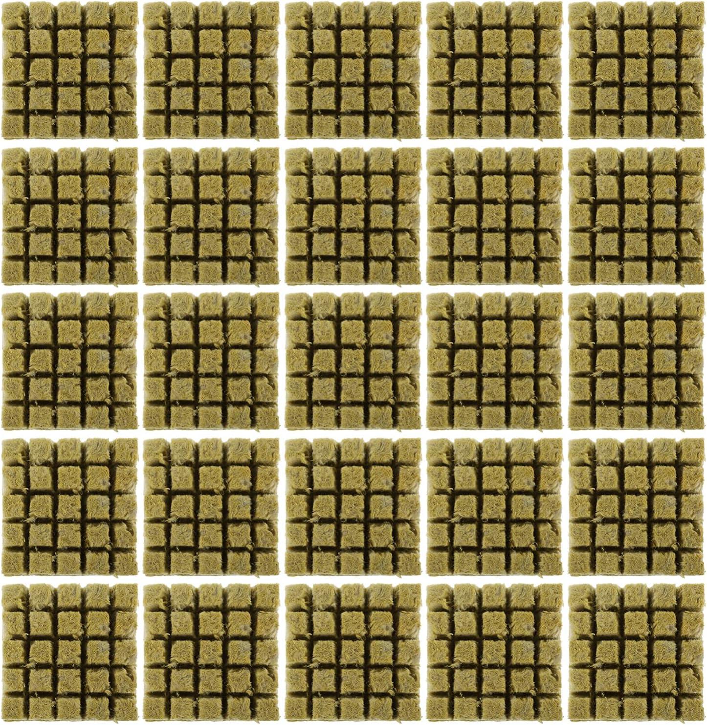 Cabilock 25 Uds. Cubos de Cultivo de Lana Mineral Tapones para El Crecimiento de Plantas Medios de Cultivo Hidropónico para Enraizar Esquejes Plantas de Clon Semillas de Inicio de