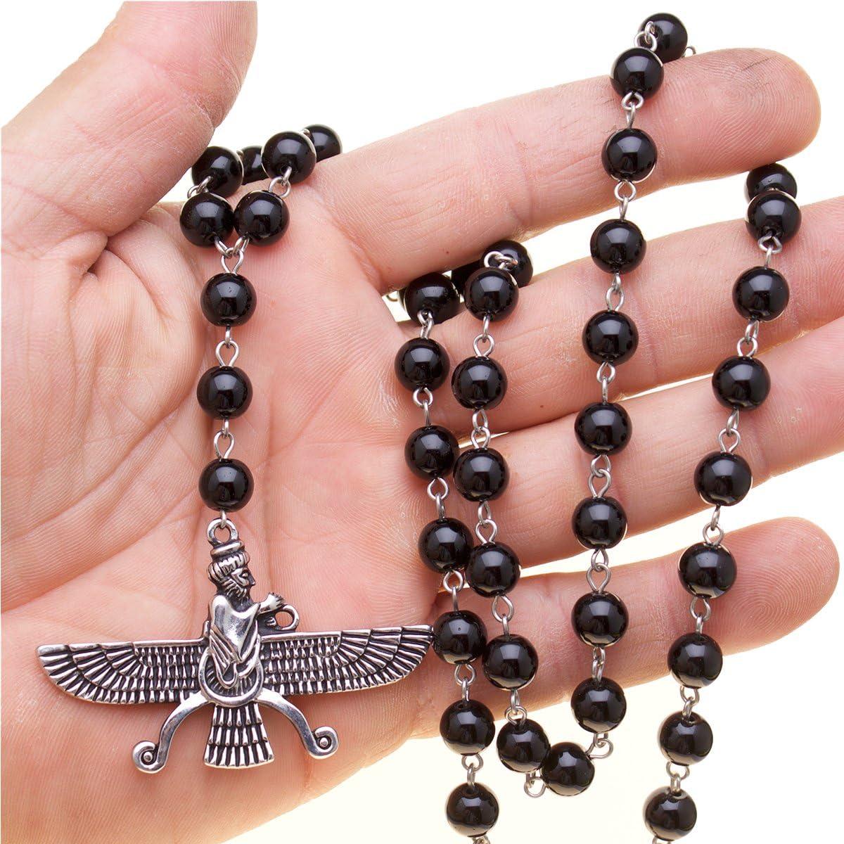 Asoodehdelan Silver Pt Persian Farvahar Necklace Agate Beads Gift Persia Farsi Parsi