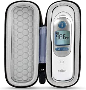Thermometer Case Compatible for Braun Thermoscan 7 IRT6520/ 5 Ear Thermometer IRT6500, Travel Carrying Storage Box Fits for Probe Covers