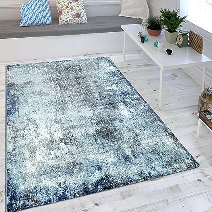 Wohnzimmer Teppich Indigo Blau Trend Modern Maritimer Stil Shabby Chic Design Grosse 160x230 Cm