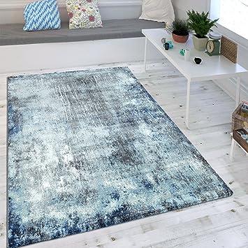 Amazon De Wohnzimmer Teppich Indigo Blau Trend Modern Maritimer