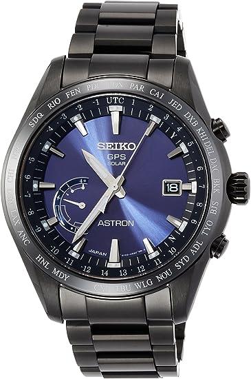 [セイコーウォッチ] 腕時計 アストロン GPSソーラー電波 ワールドタイム機能 チタンモデル ネイビー文字盤 SBXB111 メンズ ブラック