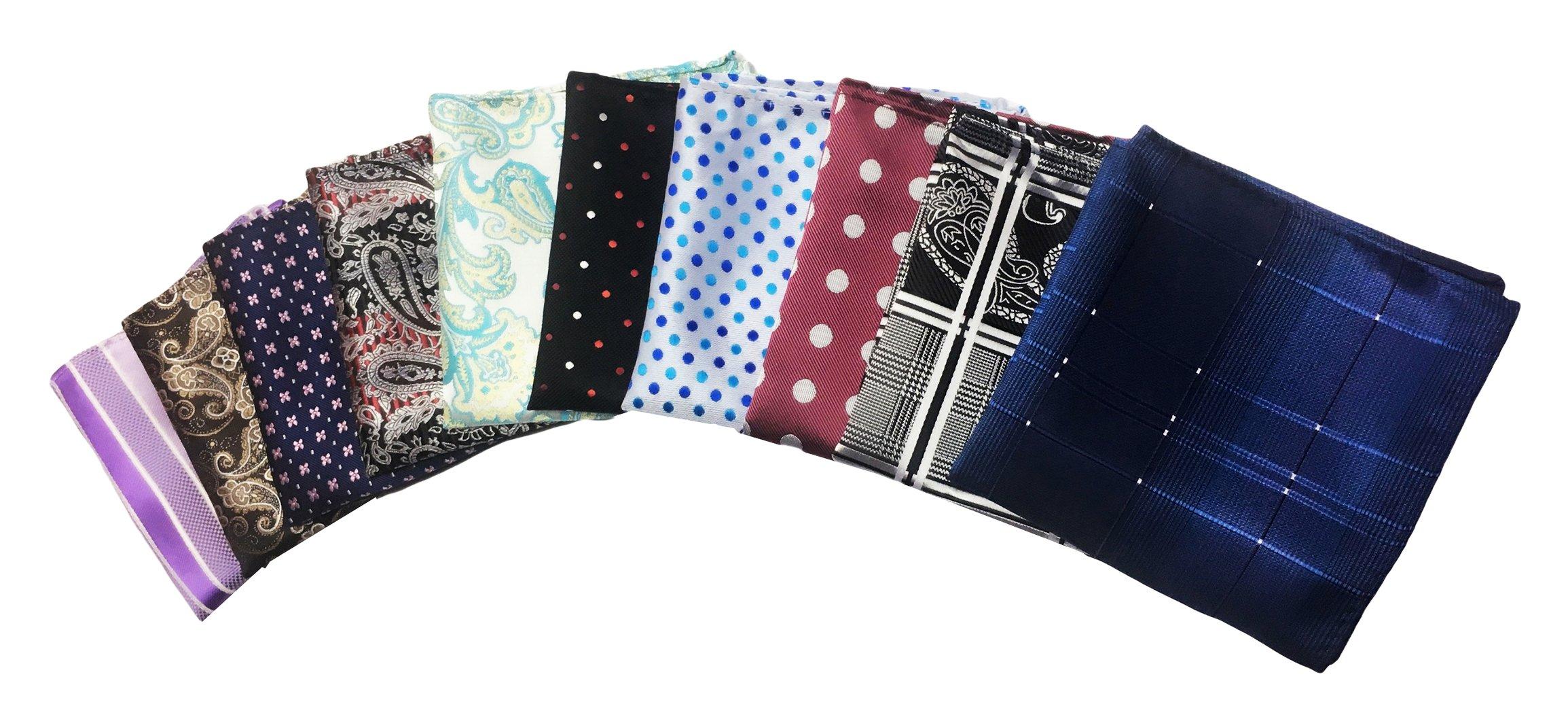 MENDENG Men's 10 Pack Polka Dot Paisley Assorted Pocket Square Silk Handkerchief