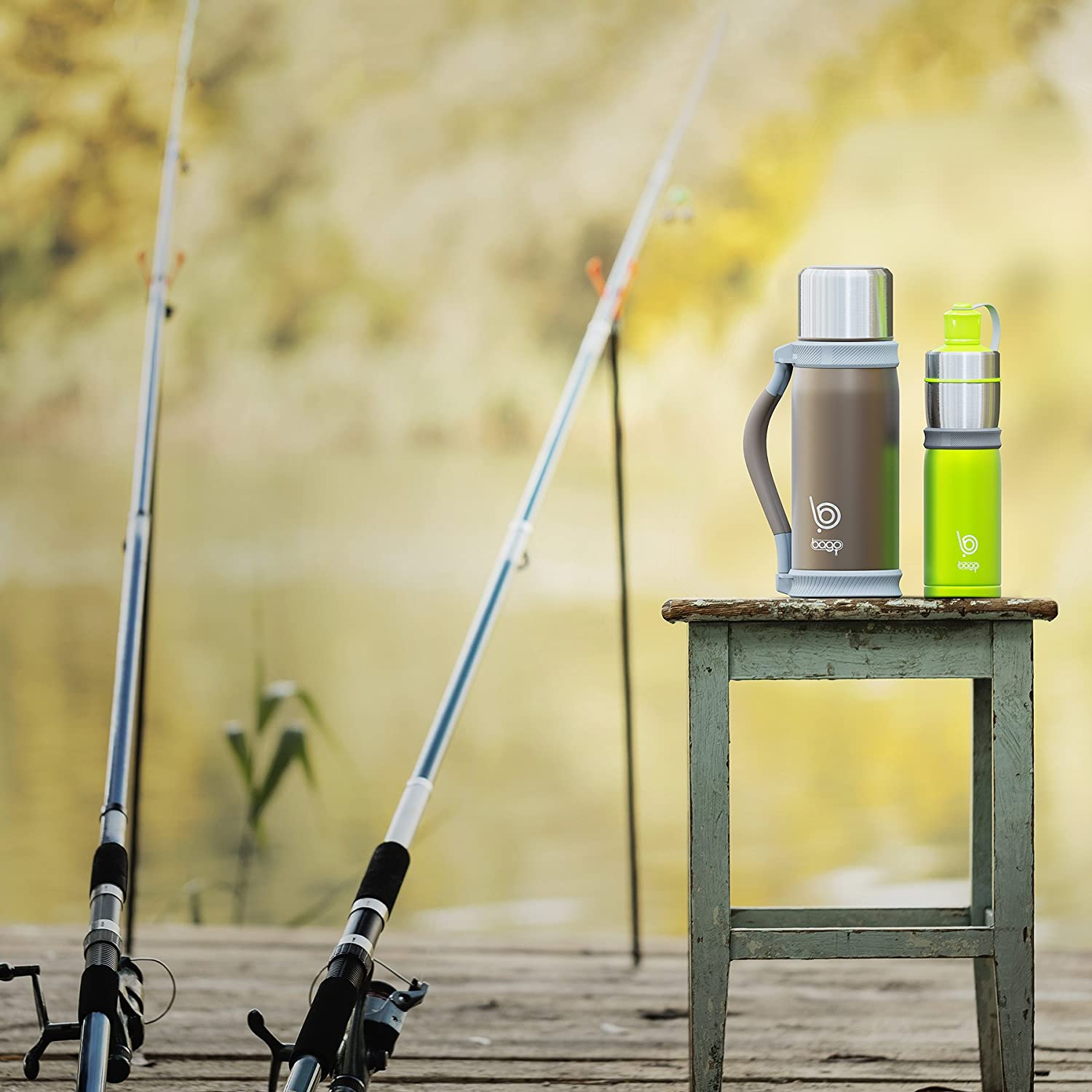 Camping 1.2 Liter Stainless Steel Vacuum w//Cup and Carrier bago Insulated Water Bottle Best for Travel Runners and Personal Use Sport Keep Drinks Hot//Cold for Hours