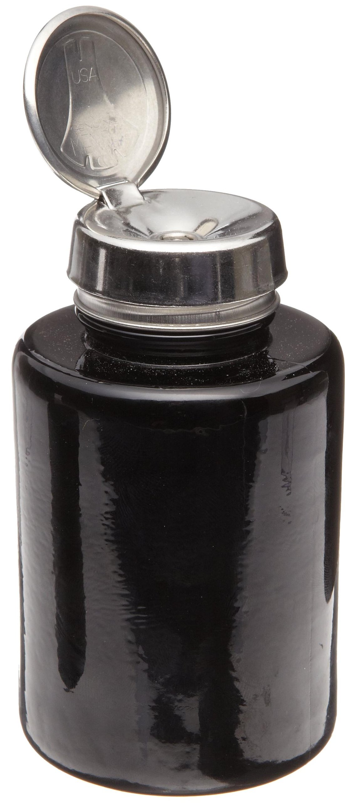 Menda 35385 6 oz Round Black Glass Bottle With Stainless Steel One Touch Pump