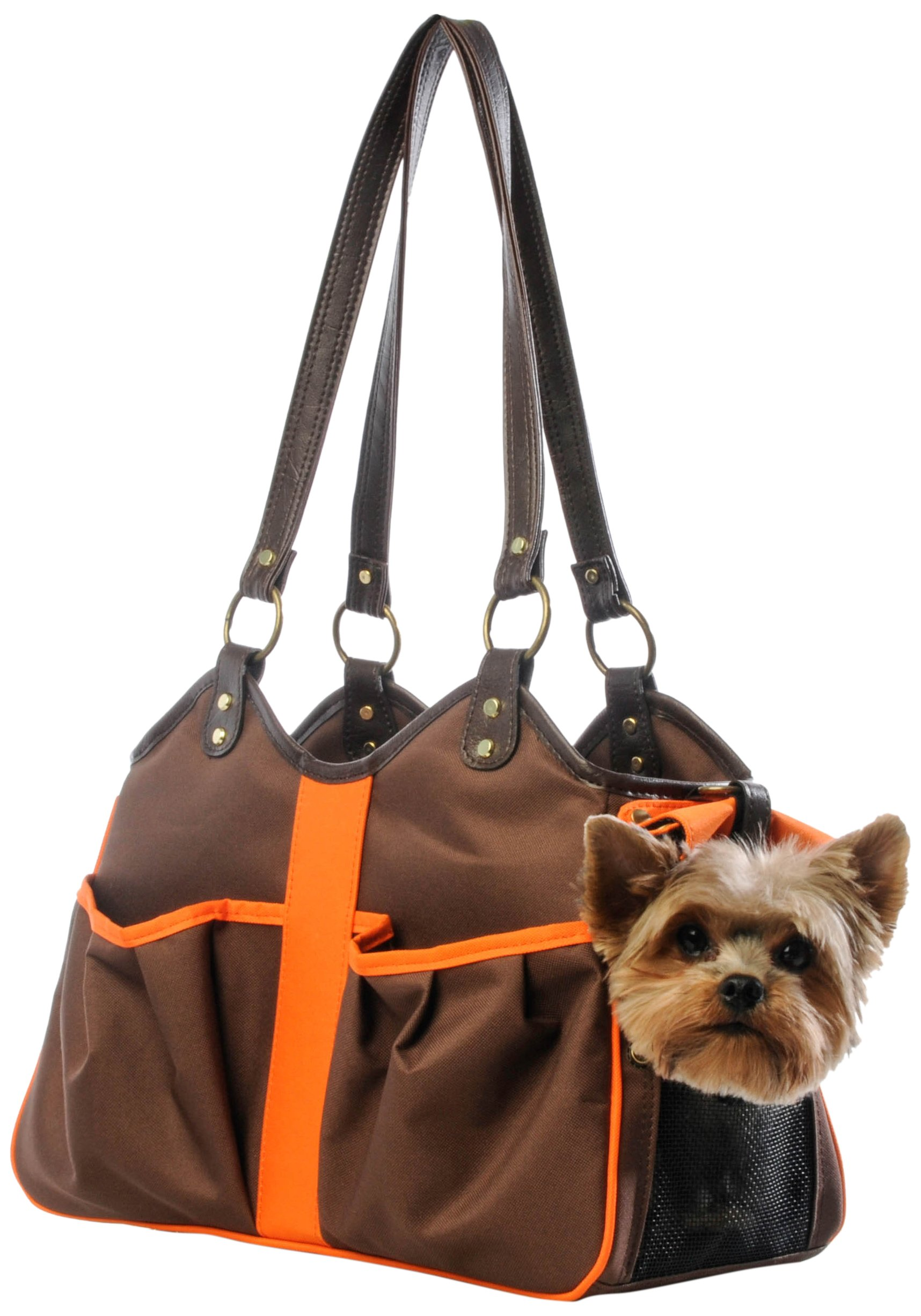 Petote Metro 2 Pet Carrier Bag, Small, Brown/Orange