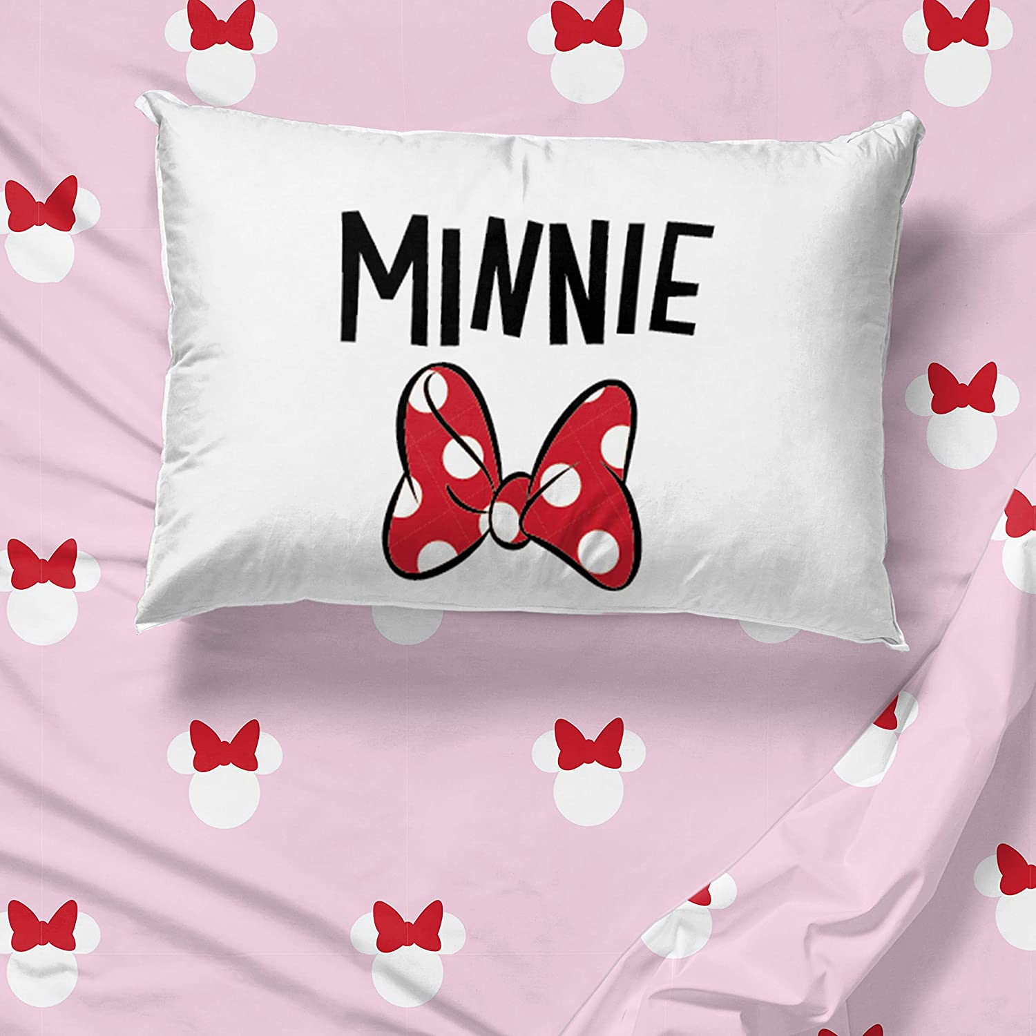 Super Soft Bedding Fade Resistant Microfiber - Includes Comforter Jay Franco Disney Minnie Mouse I Love Minnie 5 Piece Twin Bed Set Sheet Set Official Disney Product Pillow