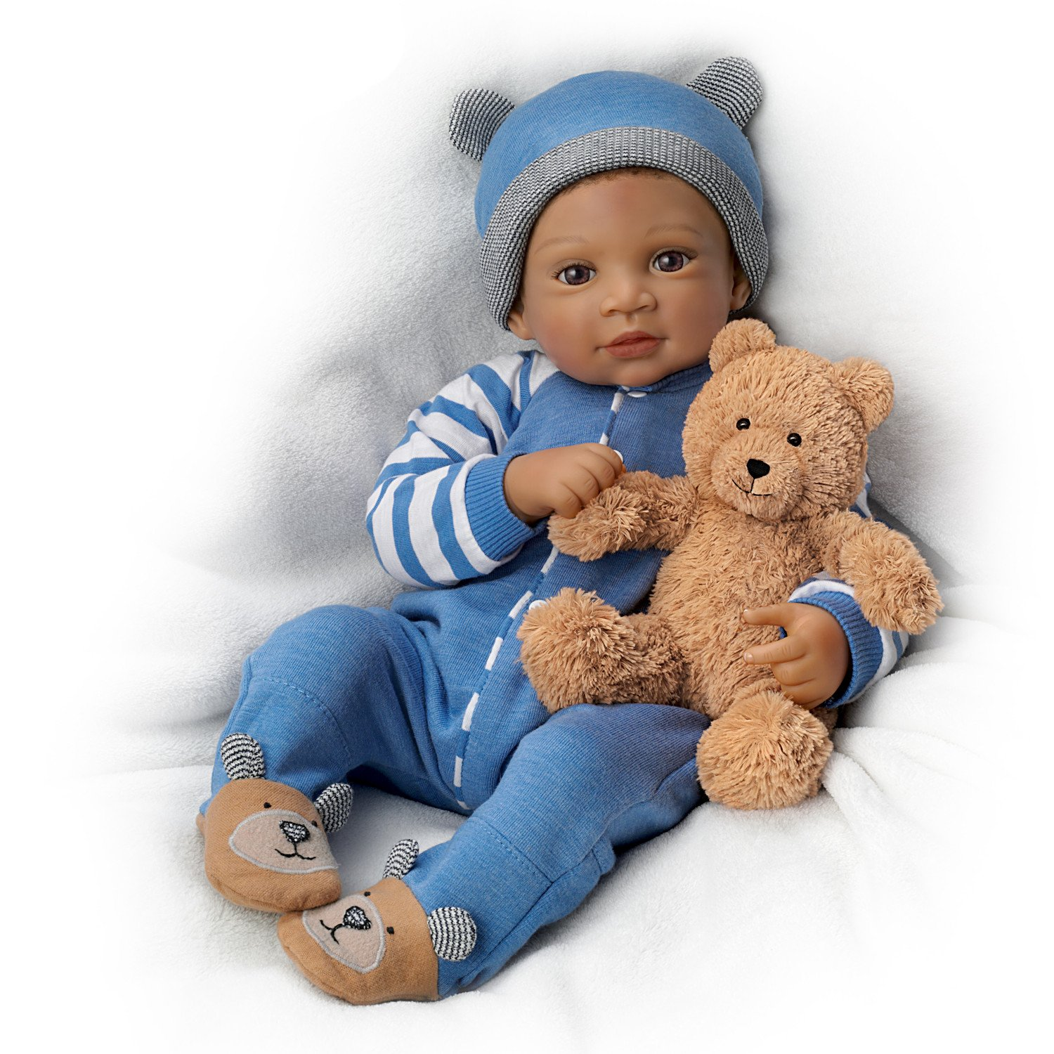 19'' Waltraud Hanl Weighted and Poseable Baby Boy Doll with Plush Bear by The Ashton-Drake Galleries by The Ashton-Drake Galleries