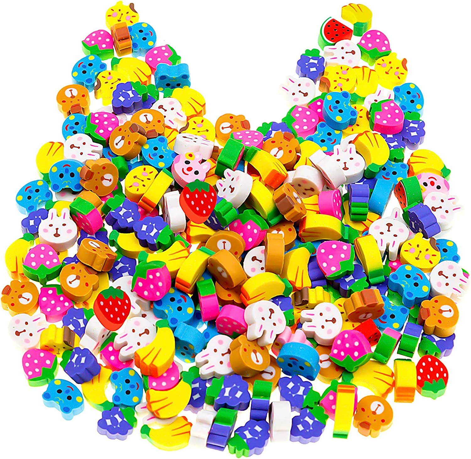 240 Pack Mini Fruit Animal Erasers for Kids, Funny 3D Erasers Assortment, Cute Cat Rabbit Bear Banana Strawberry Grape Novelty Erasers for Birthday Party Supplies, Kids Classroom Rewards and Prizes