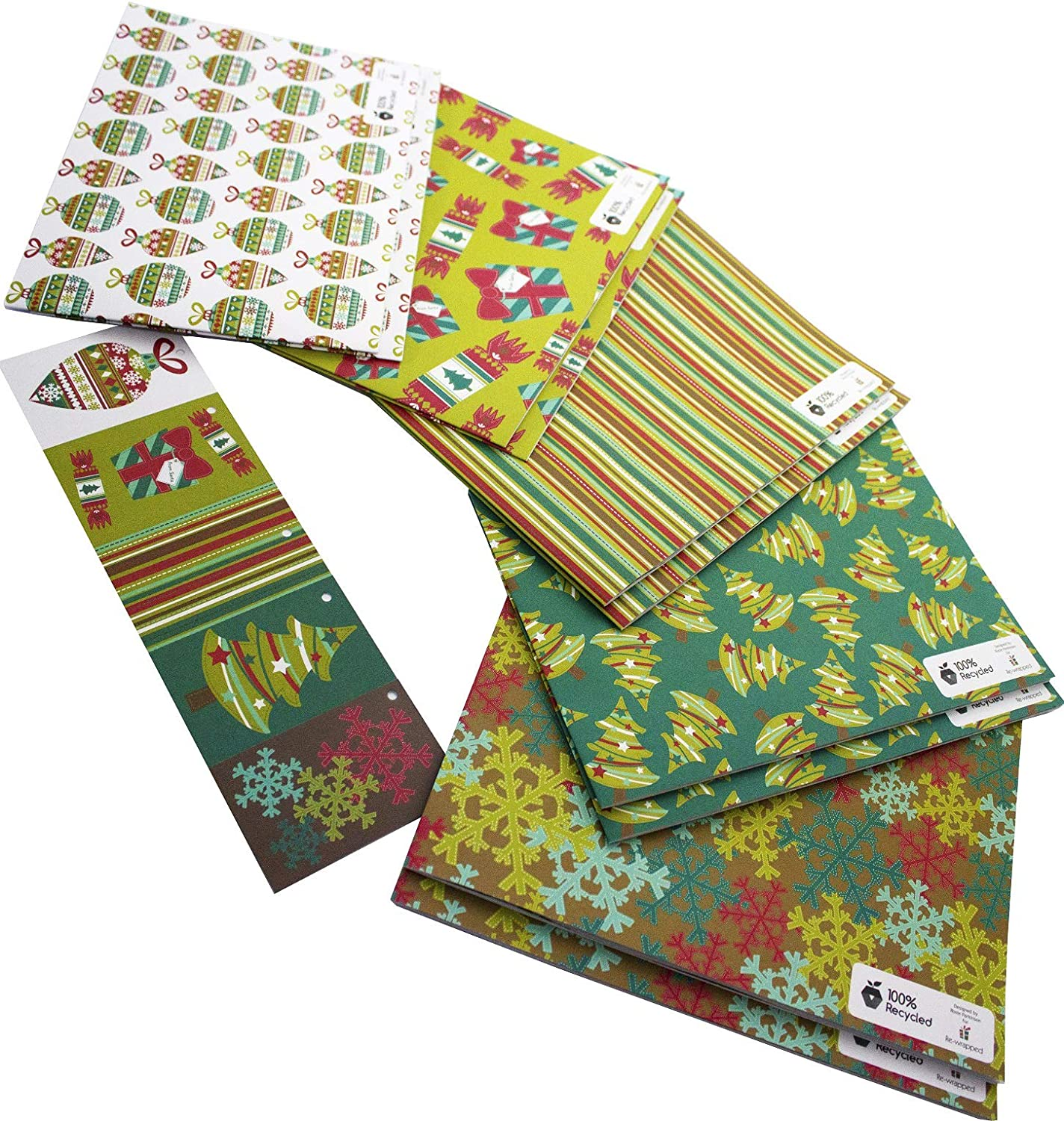 Christmas Foliage Luxury Gift Wrap and Tags Recyclable Reusable Wrapping Paper