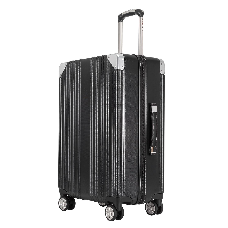 クロース(Kroeus) スーツケース ファスナータイプ 大型キャスター 8輪 キャリーケース 人気 大容量 軽量 TSAロック ソフトなハンドル 取扱説明書付 B07BQPX8HC L|ブラック ブラック L