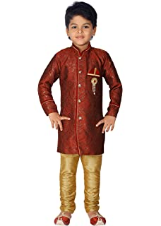 d31247e1c9 Ahhaaaa Kids Indian Ethnic Bollywood Style Festive and Party Wear Sherwani  and Breeches Set for boys