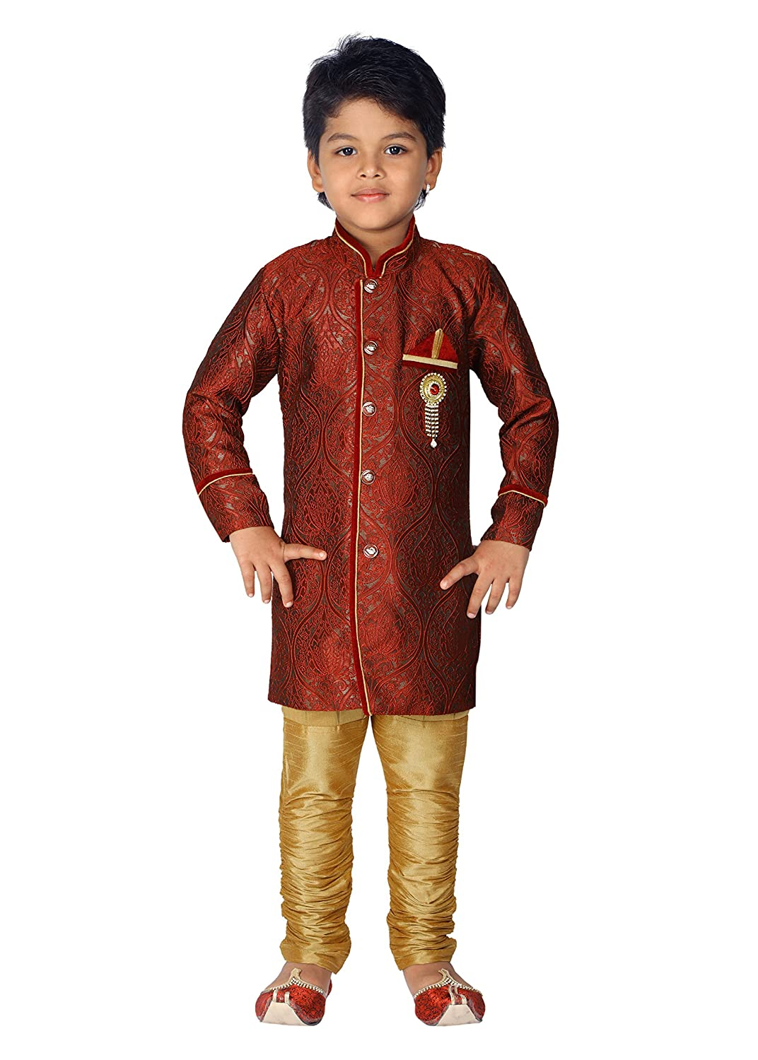 Ahhaaaa Kids Indian Ethnic Bollywood Style Festive and Party Wear Sherwani and Breeches Set for boys