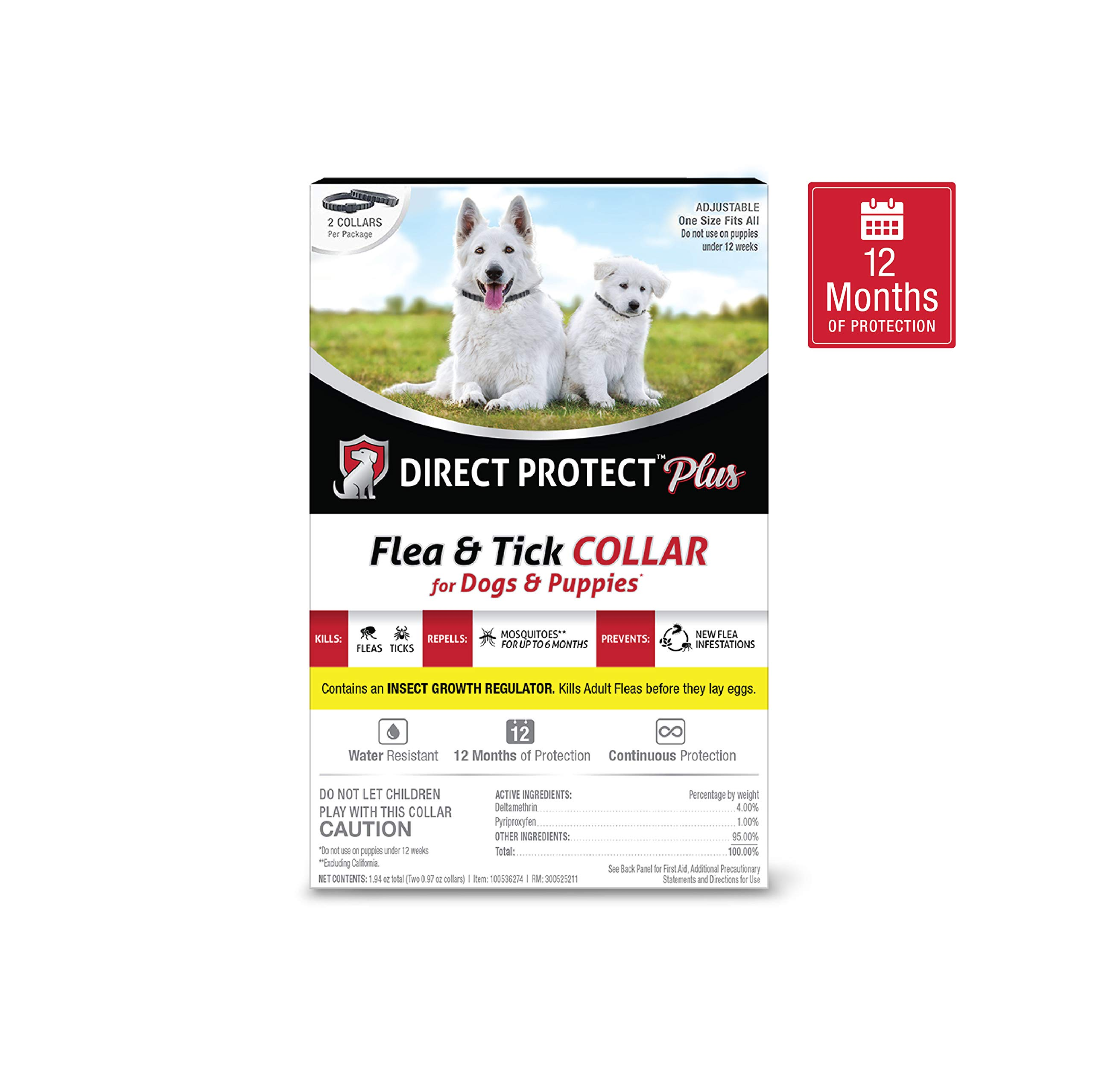 Direct Protect Plus Flea & Tick Collars for Dogs & Puppies, One Size Fits All, 2-Pack, 12 Months Protection by Direct Protect Plus