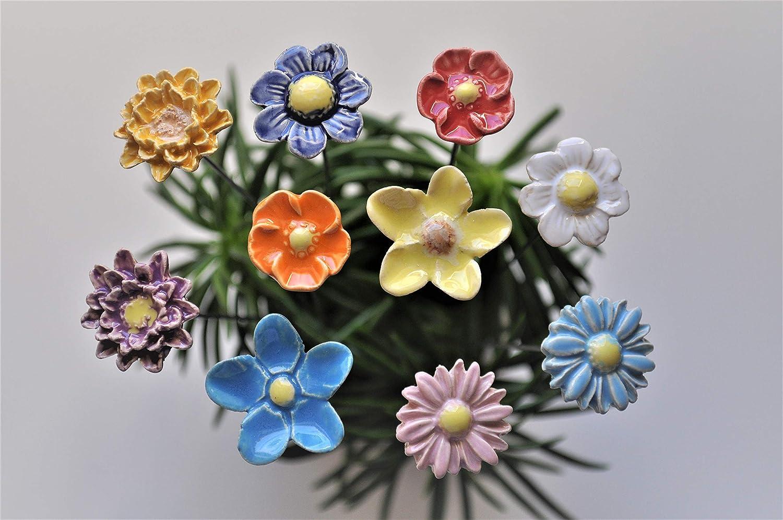 Gemischt//bunt 10 Keramikblumen