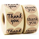 Kraft Paper Thank You Stickers - Premium Bundle 1000 pcs 1.58'' Big Heart Shape & 1.2'' Round Adhesive Stickers | 2x500 per Roll