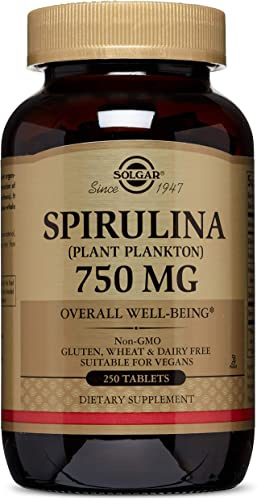 Solgar Spirulina Tablets, 750 mg, 250 Count