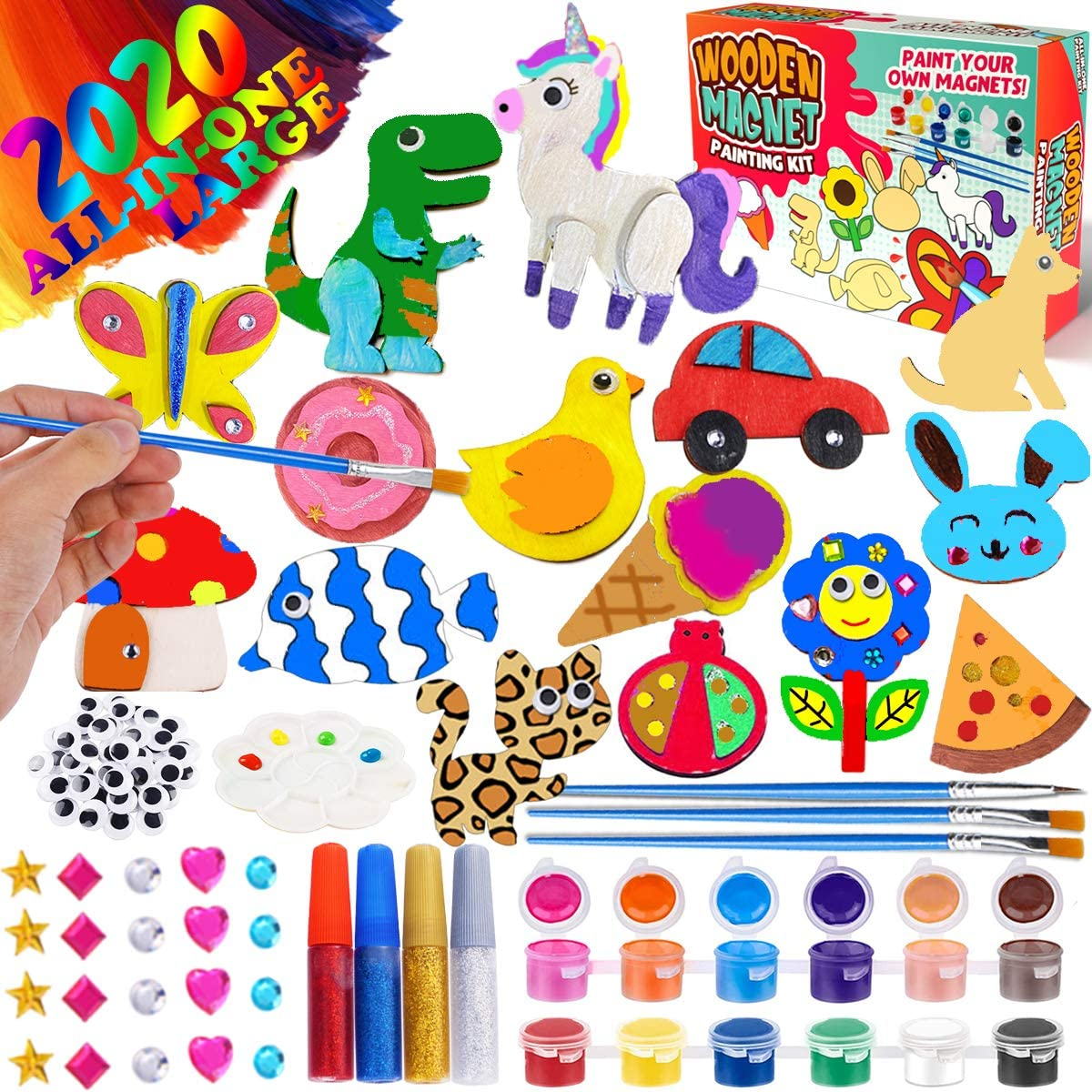 GoodyKing Arts and Crafts Supplies for Kids Painting Creativity Art Craft Kit Decorate Your Own Wooden Magnet Kids for Age 3 4 5 6 Year Old DIY Birthday Gift Family Activity Project Birthday Present