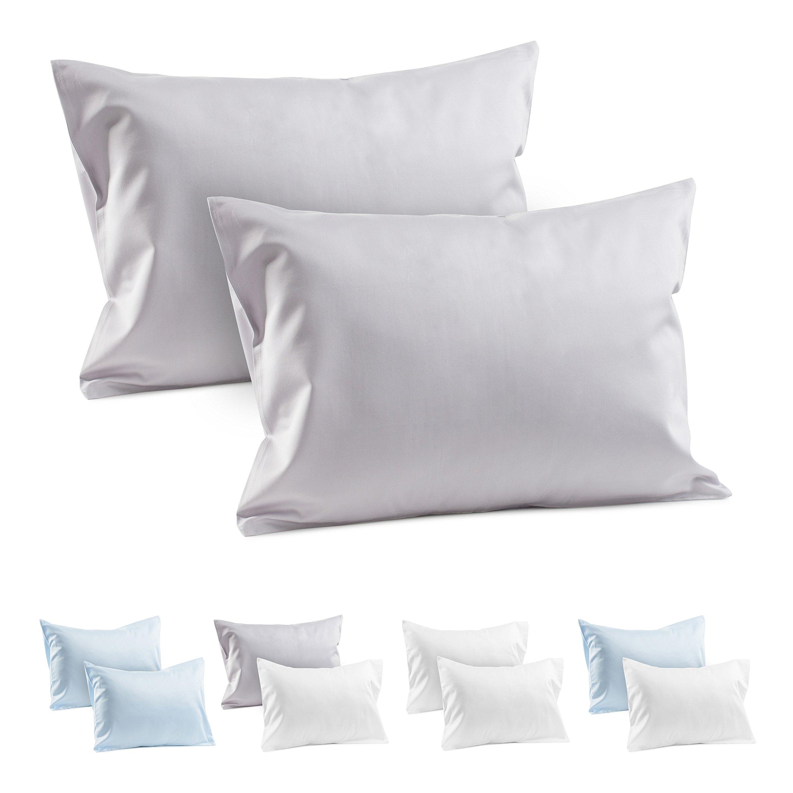 2 Grey Toddler Pillowcases 100% Cotton Sateen Toddler Pillowcase 400 TC Gray Travel Pillowcase Covers 14''x19'' or 13''x18'' Toddler Baby Travel Pillows Gray Naturally Hypoallergenic Envelope Cases Grey